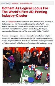 "My Most Recent Post on ""NYC as 3DP Industry Cluster""---Based On A Shapeways' Meetup"