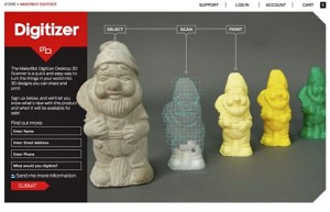 "MakerBot's Web site ""teaser"" introduction of its prototype Digitizer Desktop 3D Scanner (announced by Bre Pettis, CEO, at SXSW, 8 March 2013)"