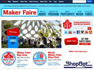 O'Reilly Media's Festivals of Maker-Ness: The Maker Faire(s); this screen-shot captures info about the two major U.S. events--Maker Faire Bay Area & World Maker Faire New York