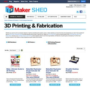 "O'Reilly's ""Maker Shed"" Main Page--Its Online Catalog of Publications & Products For Personal Fabrication & 3DP"