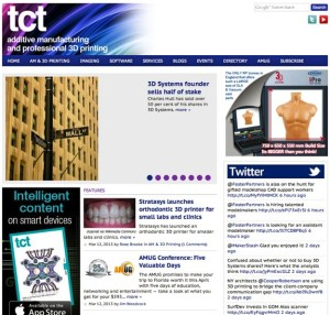 "tct (once standing for Time Compression Technologies), of the UK, claims to be the only ""communication portfolio"" that covers Additive Manufacturing and Industrial 3D Printing in print, online and in-person---globally."