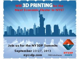 One of our September 2013 NY3DP Summits' Collateral Advertising Docs: Front-Side Of A Physical Post-Card Mailer/Hand-Out.