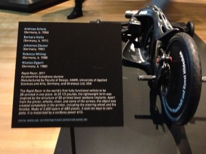 "3DP'd ABS Tricycle at ""Out of Hand"" Exhibition at Museum of Art & Design, NYC, 8 Nov 13, by Grey (Display Info)"