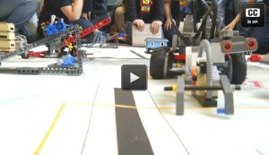 Contestant 9 to 14 YO school-based teams playing (seriously) with kid-built LEGO Robots at FIRST LEGO League Brooklyn competitive qualifier for FIRST's national robotic-design/build contest at NYU-Poly, MetroTech Center, Saturday, 11 Jan 2014 (see the video HERE)