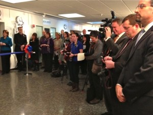 Small segment of the packed audience at the public ribbon-cutting for the MakerBot Innovation Center Opening Ceremony, 11 February 2014, SUNY New Paltz.
