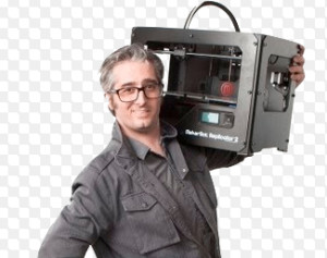 Bre Pettis, Cofounder & CEO of MakerBot, with Replicator 2 on the way to Marketing-By-Education...