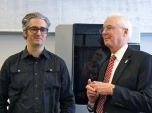 """MakerBot CEO Bre Pettis & SUNY New Paltz President Donald Christian Exchange With Press During The News Conference At The Inauguration Of The World's First """"MakerBot Innovation Center"""" At SUNY New Paltz, 11 February 2014."""