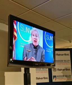 "Nancy Zimpher, Chancellor of the State University of New York, Joins The Public Ribbon-Cutting By Video Presentation At The ""MakerBot Innovation Center"" Debut, SUNY New Paltz, 11 Feb 2014."