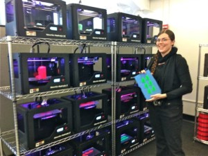 One rack of MakerBot 3DP equipment --- 35 plus Replicator 2 3D Printers --- with a Graduate Assistant at the MakerBot Innovation Center Opening Ceremony, 11 February 2014, SUNY New Paltz.