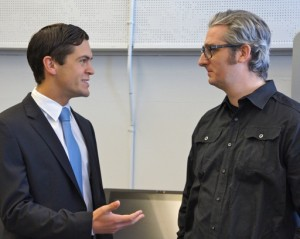 "Sean Eldridge, President of Hudson River Ventures & a Founder/Benefactor of the Hudson Valley Advanced Manufacturing Center at SUNY New Paltz, exchanges with Bre Pettis, CEO of MakerBot, and key-noter at the the Grand Opening Celebration at the ""MakerBot Innovation Center"" at SUNY New Paltz, 11 Feb 2014."