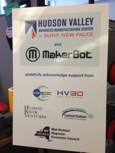 Signage at the MakerBot Innovation Center Opening Ceremony, 11 February 2014, SUNY New Paltz, showing some of the Team of local collaborators who helped realize this break-through project.