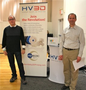 "Larry Gottlieb (left), President & CEO of the Hudson Valley Economic Development Corporation (HVEDC) and Daniel Freedman, Dean, School of Science & Engineering, & Director of HV3D at SUNY New Paltz, at the HVEDC/HV3D booth at the ""3D Printshow NY,"" in NYC, 14 Feb 2014."