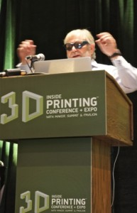 "Avi Reichental, President & CEO of 3D Systems, demo'ing rock-star 3DP-produced sunglasses, at his Keynote at ""Inside 3D Printing"" at the Javits Center, NYC, on 3 April 2014."