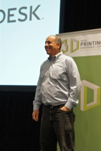 """Carl Bass, President & CEO of Autodesk, presenting his Keynote at """"Inside 3D Printing"""" at the Javits Center, NYC, on 4 April 2014."""