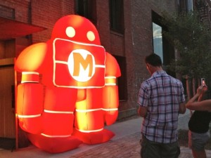 "The Illuminated Maker Media ""Man"" outside World Maker Faire NY '14 Town Hall at the new Kickstarter HQ in Williamsburg, Brooklyn, 10 July 2014"
