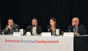 """Panel: Cross-Industry Panel at """"Additive Manufacturing Production Application Initiative 2014"""" -- Left to Right: Piet Meijs, Associate Partner, Rietveld Architects; Pete Stephens, Dir of Program Management, Local Motors; Sarah Sclarsic, Dir of Business, Modern Meadow; Ralph Resnick, Pres & Exec Dir,  National Center for Defense Manufacturing & Machining (NCDMM) & Founding Director, America Makes"""