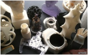A potpourri of 3D printed objects created using Autodesk software.