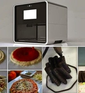 "Natural Machines' Innovative ""Foodini"" (top) --- 3D-Printing food creation device as kitchen appliance --- with examples of ""printed"" foods and dishes (below)"